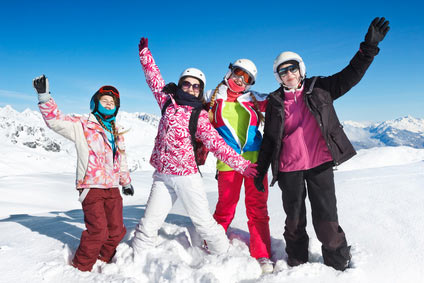 school group enjoying a ski trip