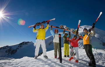 school group on a ski holiday